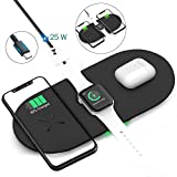 GEEKERA Wireless Charging Pad, 3 in 1 Wireless Charger Mat Station Dock Stand for Apple Watch Series 5/4/3/2/1, Airpods Pro 1/2, iPhone 11 pro/XR/XS/8, QI-Certificated (Black)