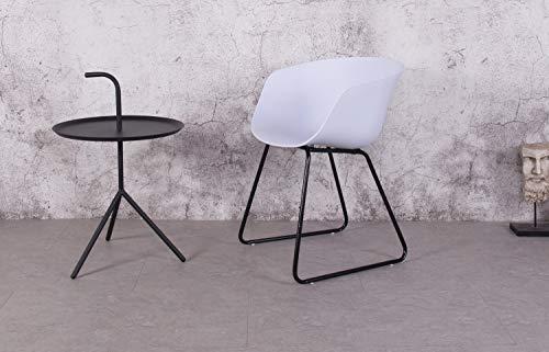 KOSMI - Sillón de estilo escandinavo blanco modelo IOS con carcasa de resina blanca, patas de metal negro