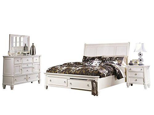 Affordable Prentice 4 PC Bedroom Set: Queen Sleigh Bed Dresser Mirror 1 Nightstand - Ashley in White