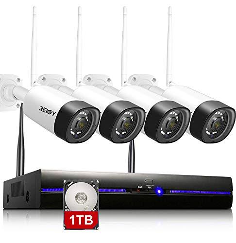 REIGY Kit Videosorveglianza Wi-Fi Esterno Audio Bidirezionale, 1080P H.265 Sistema di Telecamera Sorveglianza con 8CH NVR+4*Videocamere IP, Plug and Play Visione Notturna Accesso Remoto 1TB HDD