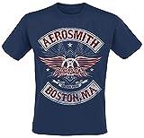 Aerosmith Boston Pride Hombre Camiseta Azul Marino L, 100% algodón, Regular