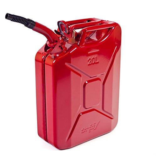 Oxid7® Benzinkanister Kraftstoffkanister Metall 20 Liter Rot inkl. Ausgießer mit UN-Zulassung - TÜV Rheinland Zertifiziert - Bauart geprüft - für Benzin und Diesel