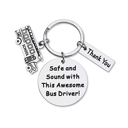 Gifts for Bus-Driver-Keychain-Appreciation-Gift for Men School Bus Driver Thank You Gifts Bus Key Chain Safe and Sound with This Awesome Bus Driver Key Tag for Him