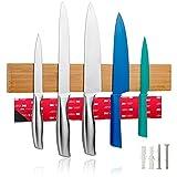 LARHN Imán Cuchillos con Cinta Adhesiva Opcional Incluida - 40cm - Barra Magnética para Cuchillos, Utensilios y Herramientas