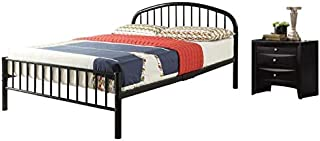 Acme Furniture Cailyn 2 Piece Bedroom Set with Metal Full Size Bed and Nightstand in Black