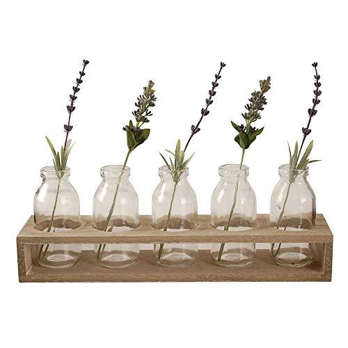 TTWD - Juego de 6 Mini Botellas de Cristal Vintage en jarrones de Madera para Centro de Mesa de Bodas