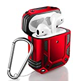 ZADORN Airpod Case,Military Grade Protective Case for Airpods 1st/2nd with Hard PC and Soft TPU Cover,15ft. Drop Tested Shockproof Airpod Case with Keychain Compatible with Wireless Charging Red