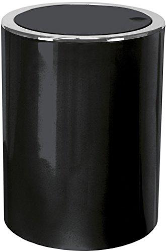 Kleine Wolke 5829926858 Poubelle à Couvercle Clap 5l en Noir, Plastique, 40x30x10 cm