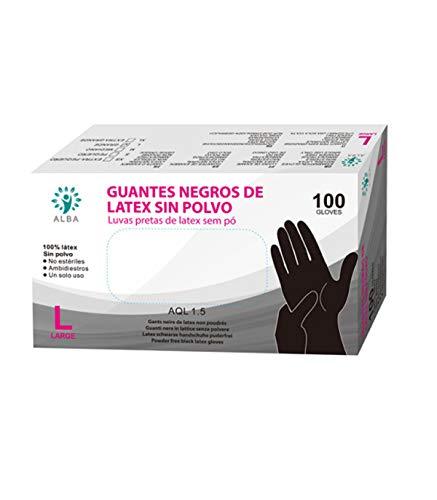 Grupo K-2 Wonduu Guantes De Látex Sin Polvo Negro Caja De 100 Unidades Pequeño