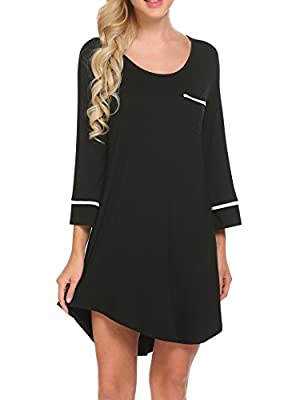 Ekouaer Sleepwear Womens 3/4 Sleeve Lounge Sleep Dress T Shirt Knit Night Gown(Back XL)