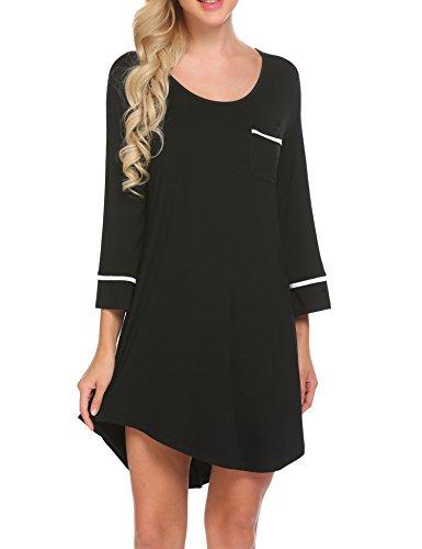 Ekouaer Sleepwear Womens 3/4 Sleeve Lounge Sleep Dress T Shirt Knit Night Gown(Back XL)