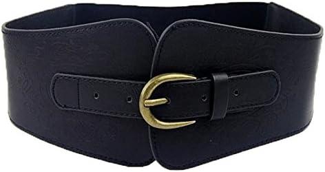 Retro Womens Elastic Waistband Wide Waist Belt Metal Buckle Faux Leather N7
