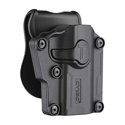 CYTAC Tactical OWB Paddle Holster, 360° Adjustable Polymer Belt Holster for Colt 1911 Beretta Bersa CZ FN Girsan Hi-Point Kahr Ruger Sig-Sauer Smith&Wesson Springfield Steyr Taurus Walther & More-RH