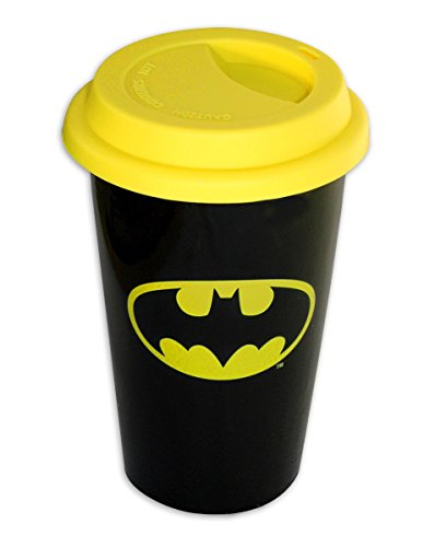 Batman travel Mug, Coffee-to-Go-Becher Logo, aus Porzellan Deckel aus Silikon 14cm