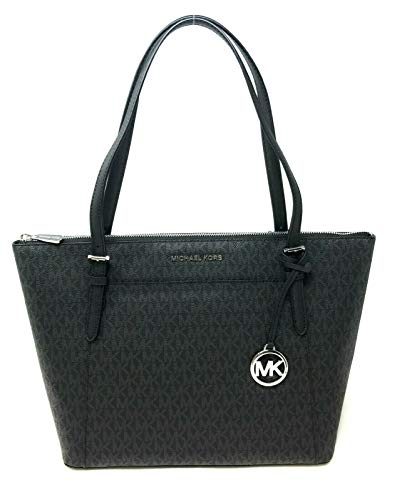Michael Kors Ciara Large East West Top Zip PVC Signature Tote - Black/Black