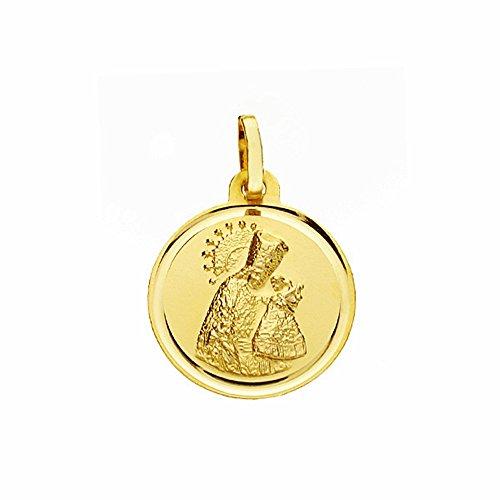 Medalla Oro 18K Virgen Desamparados 16mm. Lisa Bisel [Aa2571Gr] - Personalizable - Grabación Incluida En El Precio