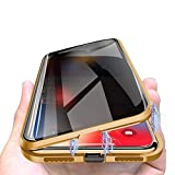 Privacy Magnetic Cases for iPhone Xs Max, Anti Peeping Clear Double Sided Tempered Glass [Magnet Absorption Metal Bumper Frame] Thin 360 Full Protective Phone Case for iPhone Xs Max 6.5'' Gold