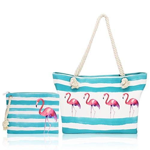 Beach Bag-Twine Beach Bags, Travel Beach Bag, Canvas Beach Bag, Large- Top Zipper Closure (Flamingo)