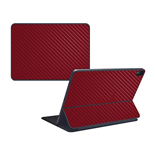 MightySkins Carbon Fiber Skin for Apple iPad Pro Smart Keyboard 11' (2018) - Solid Burgundy - Protective, Durable Textured Carbon Fiber Finish - Easy to Apply, Remove - Made in The USA