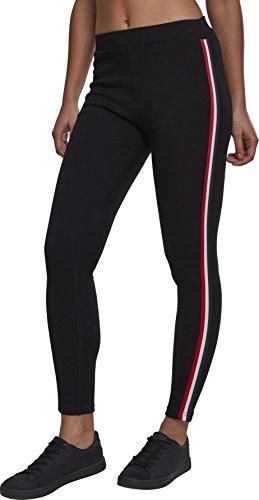 Urban Classics Damen Ladies 3-Tone Tape Leggings, Mehrfarbig (Black/Firered/White/Navy 01320), 40 (Herstellergröße: L)