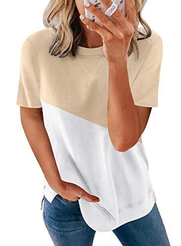Biucly Women's Summer Casual Sexy Short Sleeve Crewneck Color Block Tee Loose Tops Tshirts for Womens,US 8-10(M),Apricot,White
