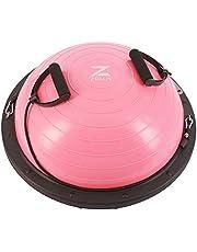 Z ZELUS 60 cm balansbal, zelfopblazend, balanstrainer met weerstandsbanden, yoga, halve bal, trainingsbal, balansboards voor gymnastiek