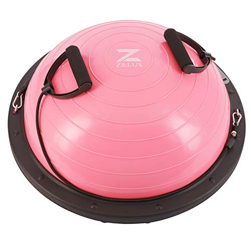 Z ZELUS 60CM Pelota de Equilibrio Autoinflable Bola de Equilibrio con 2 Bandas Resistentes...