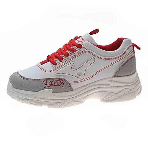 ZIYOU Damen Turnschuhe Laufschuhe Fitnessschuhe Freizeit Atmungsaktive Sportschuhe Outdoor rutschfeste Sneaker (Rot,37 EU)