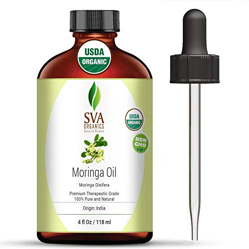 SVA Organics Moringa Oil 4 Oz Organic 100% Pure & Natural Carrier Oil Authentic & Premium Therapeutic Grade Oil for Skin Care, Hair Care, Aromatherapy & Masssage