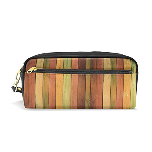 COOSUN Colored Wooden Background Portable PU Leather Pencil Case School Pen Bags Stationary Pouch Case Large Capacity Makeup Cosmetic Bag