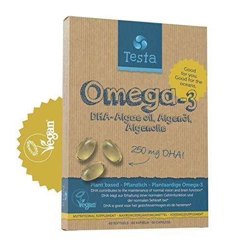 Testa Omega-3 Aceite de Algas- Omega 3 Vegan - Vegan DHA - DHA 250mg - Vegano DHA - 60 cápsulas