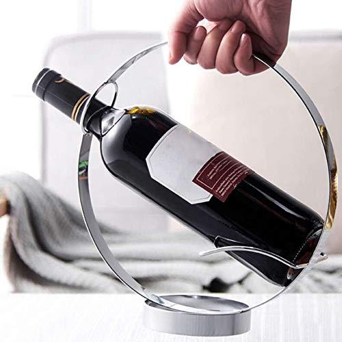 JIALI Soporte de vino, Moderno Creativo Hueco Círculo de Acero Inoxidable Vino Soporte Restaurante Mesa Botella Titular Casa Bar Suministro