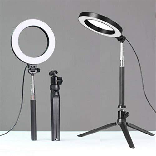 Anillo de luz LED Estudio Foto Video regulable Lámpara trípode de cámara del teléfono selfie estante pared (Color : Black)
