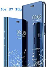 Fyugo™ Clear View Electroplate Mirror Protective Flip Cover Mirror with Luxury Stand Cover Case for Samsung Galaxy S7 Edge (Blue)