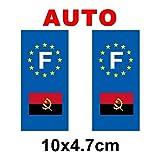 Autocollant plaque immatriculation drapeau angola Auto