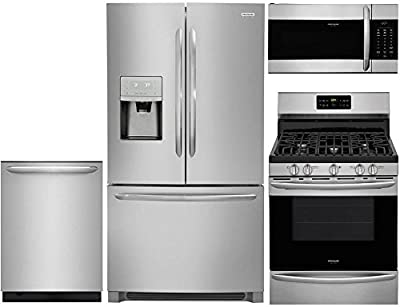 """Frigidaire 4-Piece Stainless Steel Kitchen Package with FGHD2368TF 36"""" French Door Refrigerator, FGGF3036TF 30"""" Freestanding Gas Range, FGID2476SF 24"""" Fully Integrated Dishwasher and FGMV176NTF 30"""" Ov"""