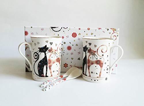 Atelier Harmony Happycats - Juego de tazas de té y café (4 piezas, 2 tazas y 2 cucharas, porcelana, con caja de regalo), diseño de gatos