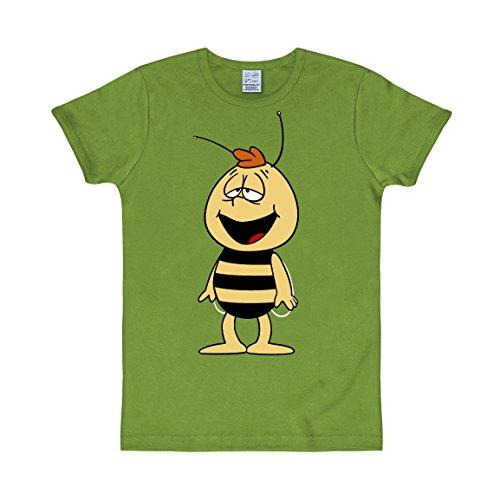 Logoshirt Cartoon - Biene Maja - Willi - Slim-Fit - T-Shirt - hellgrün - Lizenziertes Originaldesign, Größe M