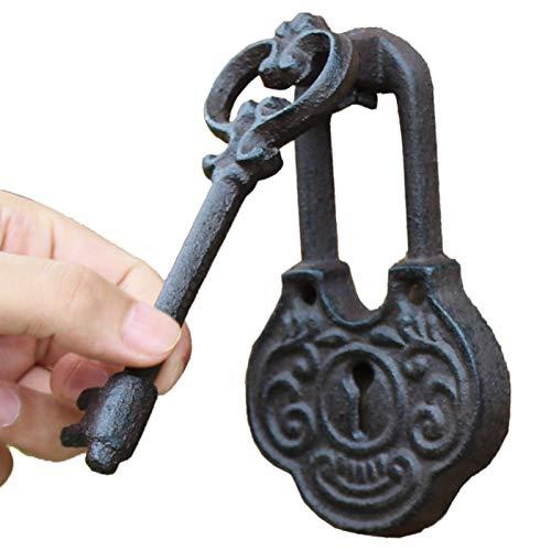 Llamador de Puerta Aldaba Golpeador de Puerta en Forma de Llave, Tirador de Puerta Principal al Aire Libre del Vintage del Arrabio con Tornillos, DecoracióN del JardíN del Apartamento