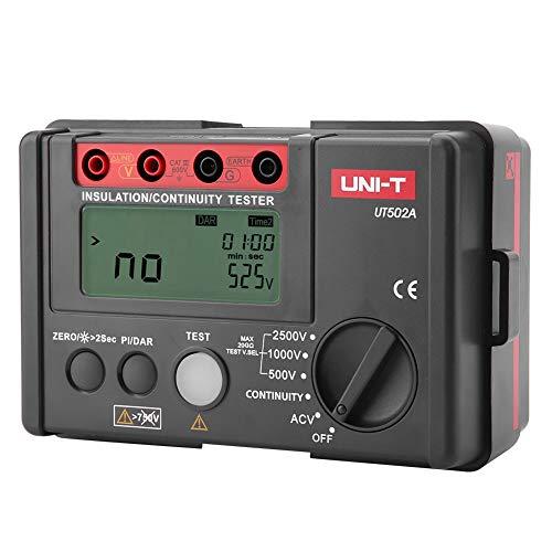 UNI-T UT502A Probador de resistencia de aislamiento Megaohmímetro Voltaje Multímetro DC 500V 1000V 2500V AC 30V-600V Rojo con gris