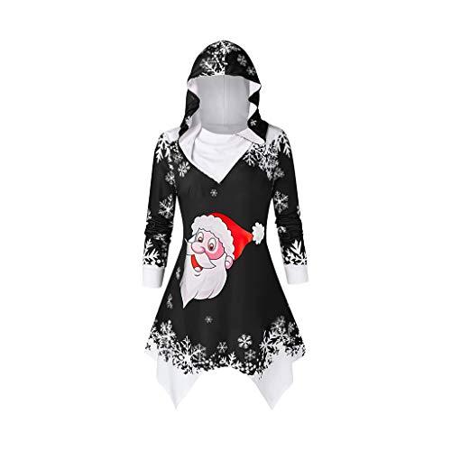 VEMOW Heißer Einzigartiges Design Mode Damen Frauen Frohe Weihnachten Schneeflocke Gedruckt Tops Cowl Neck Casual Sweatshirt Bluse(Y3-Schwarz, 38 DE/L CN)