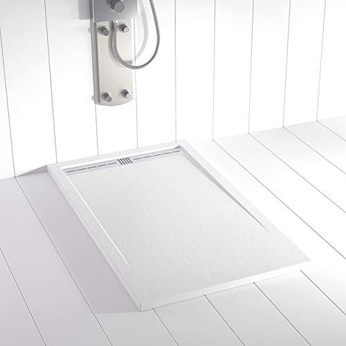 Shower Online Receveur de douche en résine FLOW - 90x110 - Texture Ardoise - Antidérapant - Blanc RAL 9003 - Toutes les tailles disponibles - Y compris la Grille en Acier Inoxydable et la Bonde
