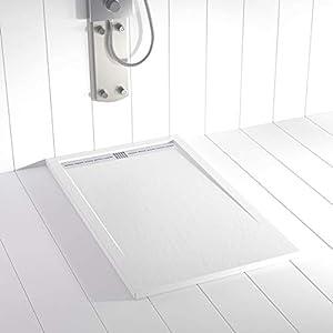 Plato de ducha Resina Shower Online FLOW - 80x100 - Textura Pizarra - Antideslizante - Blanco RAL 9003 - Incluye Rejilla Inox y Sifón - Todas las medidas disponibles
