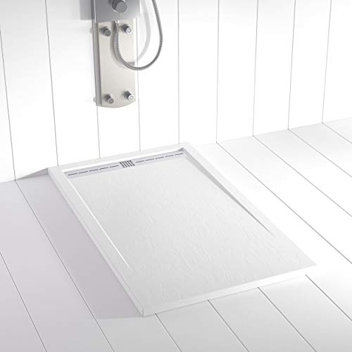 Plato de ducha Resina Shower Online FLOW - 70x90 - Textura Pizarra - Antideslizante - Blanco RAL 9003 - Incluye Rejilla Inox y Sifón - Todas las medidas disponibles