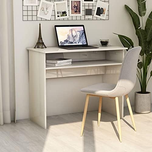 SHUJUNKAIN Escritorio de aglomerado Blanco Brillante 90x50x74 cm Mobiliario Mobiliario de Oficina Escritorios Blanco con Brillo