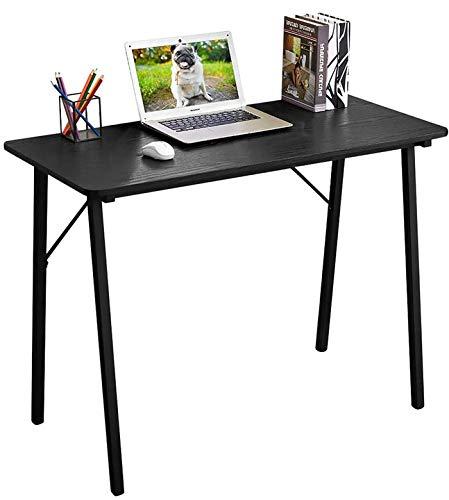 Coavas Schreibtisch Klein Arbeitstisch Computertisch Einfach Modern Büro Industrieller Stil Holzfaserplatte und Metallbeinen, 100x48x74cm, Pures Schwarz