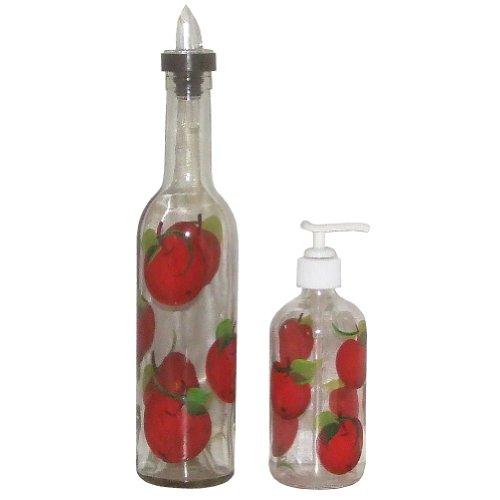 ArtisanStreet's Apple Design Pour Bottle & Soap Pump Dispenser Set. Hand Painted.