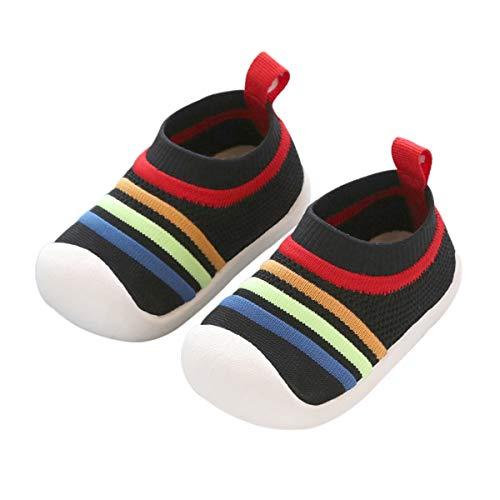 DEBAIJIA Zapatos para Niños 1-3T Bebés Caminata Zapatillas Niñas Suela Suave Malla Transpirable TPR Material 18/19 EU Negro (Tamaño Etiqueta 15)