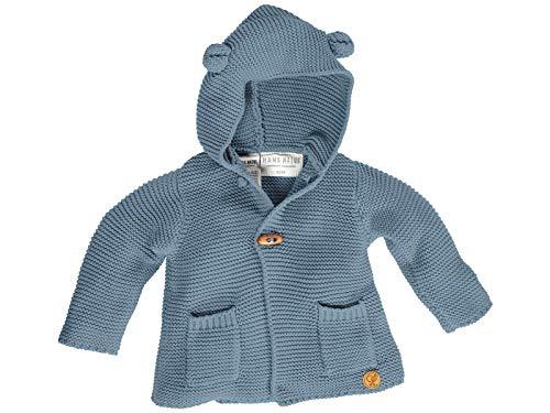 Bio Baby und Kinder Strickjacke mit Kapuze 100% Bio-Baumwolle (KbA) GOTS zertifiziert, Blau, 50/56