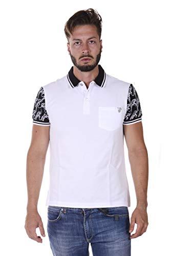 Versace Jeans - Herren Polo B3GQA7PE White Piquet Cotton Plain 48